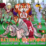Clemson Tigers National Championship Cartoon Illustration