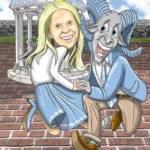 Dancing with Tar Heel Caricature Cartoon