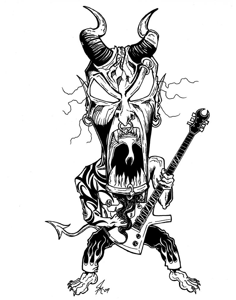 Demon Guitarist T-Shirt Design