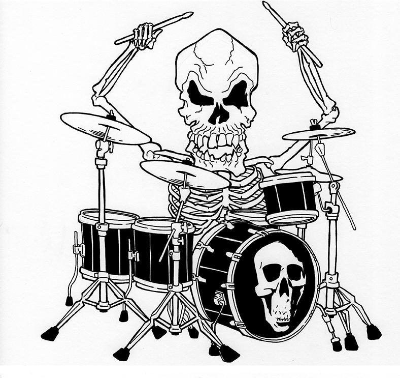 Skeleton Drummer T-Shirt Design