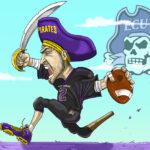 ECU Pirate Cartoon Caricature Running the Ball