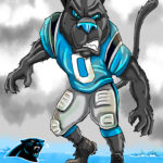 Carolina Panther Prowling Cartoon Illustration
