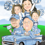 Riding to Carolina Game Cartoon Caricature Illustration