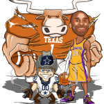 Texas Longhorns, LA Lakers - Kobe Bryant, Dallas Cowboys Man Cave Decoration Illustration