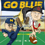 Bo Schembechler Michigan Wolverines vs Woody Hayes Ohio State Buckeyes Caricature Cartoon