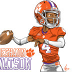 Clemson Tigers Deshaun Watson Caricature Cartoon Illustration