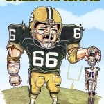 Ray Nitschke Green Machine Caricature Green Bay Packers NFL Man Cave Decoration Illustration