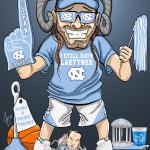 Hate Duke Fanatic UNC Tar Heels Caricature Man Cave Decoration Illustration Old Well Still Hate Laettner