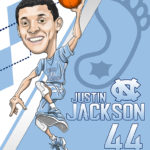 Justin Jackson UNC Tar Heel Caricature Cartoon Illustration