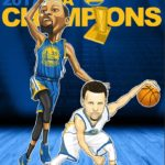 Kevin Durant and Stephen Curry Caricature Cartoon