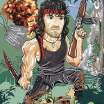 Rambo Movie Caricature Sylvester Stallone Caricature Man Cave Decoration Illustration