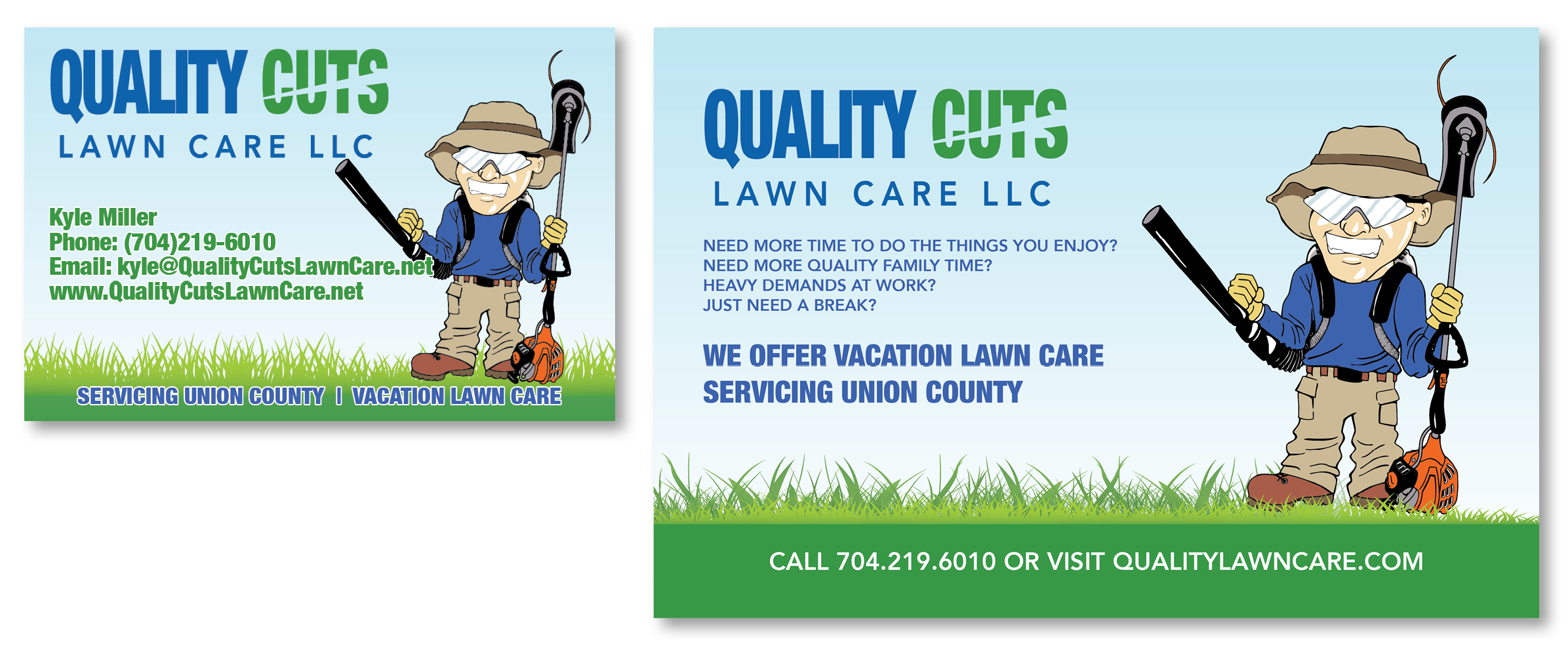 Quality Cuts Lawn Care LLC Business and Postcard