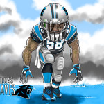 Thomas Davis Carolina Panthers Cartoon Caricature Illustration 2
