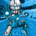 Carolina Panthers Thomas Davis as Iron Man Cartoon Caricature Illustration