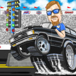 Drag Racing Cartoon Caricature Illustration