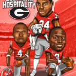 UGA Stars Hershcel Walker DJ Shockley Champ Bailey Caricature Cartoon